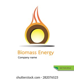 vector icon made from fire burning wood  symbols. biomass energy logo design concept.