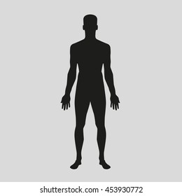 Vector Icon man without clothes in a full-length silhouette in front