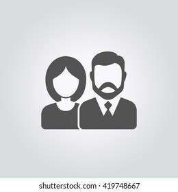 Vector icon of man and woman. Vector icon of couple. Vector silhouette of man and woman icon avatar profile picture