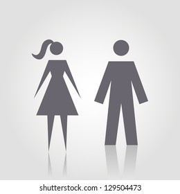 Vector icon with man and woman. Simple illustration with figures of peoples. Stylized silhouettes of person. Abstract sign for print and web