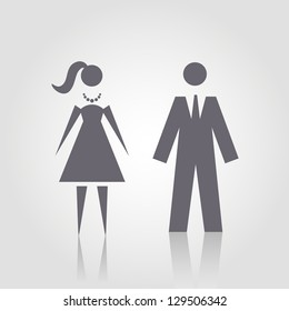 Vector icon with man and woman. Simple illustration with figures of peoples. Stylized silhouettes of person in formal dress. Abstract sign for print and web