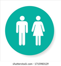 Vector icon with man and woman. Simple illustration with figures of peoples. Stylized silhouettes of person. Abstract sign for print and web. Minimalism style.