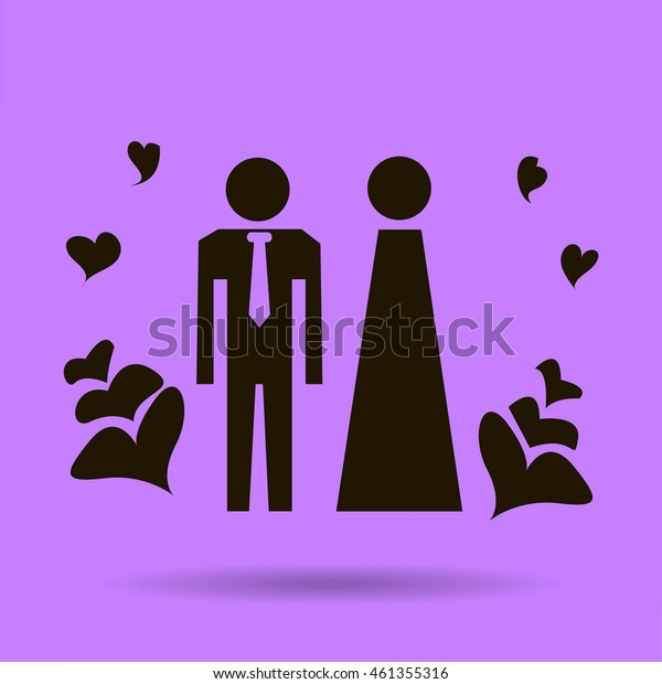 Vector icon with man and woman. Simple illustration with figures of peoples