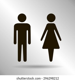 Vector icon with man and woman,toilet sign. Simple illustration with figures of peoples