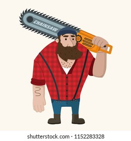 Vector icon of a man-lumberjack. Bearded woodcutter with a chainsaw in his hand and a checkered shirt.