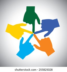 vector icon of many hands touching each other - concept of unity. This also represents concepts like community, social network, support, solidarity, partnership, friendship, cooperation, connection