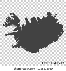 Vector icon map of Iceland on transparent background