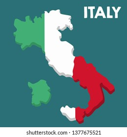 Vector icon map of Italy. Map of Italy in the color of the Italian flag. Illustration of a isometric map of Italy in flat minimalism style and text: Italy.