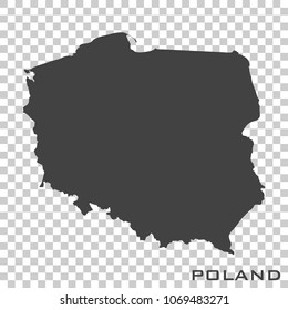 Vector icon map of Poland  on transparent background