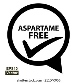 Vector : Icon for Marketing Campaign, Product Information or Product Ingredient Concept Present By Black and White Aspartame Free Icon With Check Mark Sign Isolated on White Background