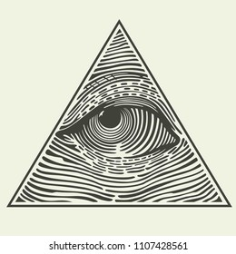 Vector Icon of the Masons symbol All-seeing eye of God. The eye of Providence in the triangle. Sign eye of God in flat minimalism style