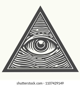 Vector Icon of the Masons symbol All-seeing eye of God. The eye of Providence in the triangle.