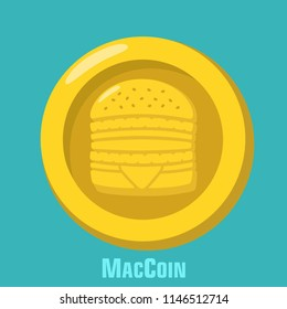 Vector icon McDonalds gold coin with burger sign. MacCoin Money in a flat style, text: MacCoin