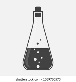 Vector icon of medical pharmaceutical bulb. Flasks for chemical experiments. Laboratory Flask.