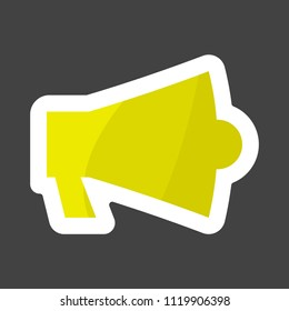 Vector icon megafon colored sticker. Layers grouped for easy editing illustration.  For your design.