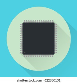 Vector icon of microchip. In a flat style. Format LQFP-48. Suitable for mobile, desktop applications and the web.