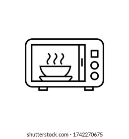 Vector icon. Microwave warm up time symbol. Line icon.