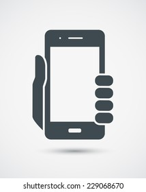 Vector icon of mobile phone in hand