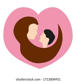 Vector icon of mom and son in the shape of a heart. Isolated illustration in flat style for mother's day. Cute drawing for your design.