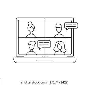 Vektorillustration Icon monoline Online-Sitzung über Gruppenanruf. Vier Leute im Video-Chat. Kollegen in der Videokonferenz im Büro oder zu Hause. Konzeptfreiheit, Fernarbeit, Telearbeit, Konferenzruf