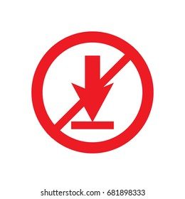 """Vector icon """"no download"""" on white background"""