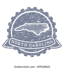 A vector icon of North Carolina state made with simple isolated shapes in vintage style and grunge textures.