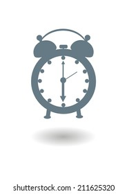 Vector icon of an old alarm clock with shadow on white background