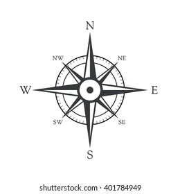 Vector icon old marine compass.