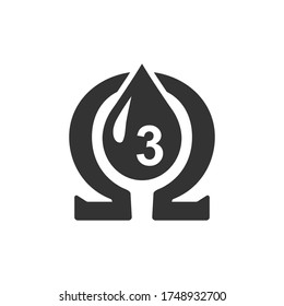 Vector icon omega 3 on white background