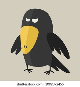 Vector Icon ominous black raven. Evil Crow bird in a flat style.