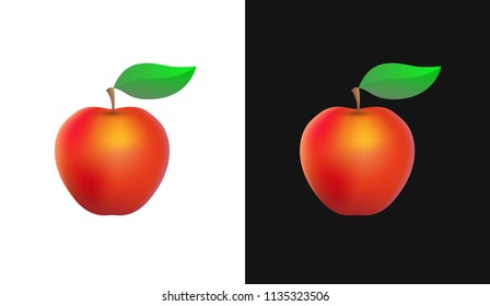 Vector Icon with Organic Apple - Clipart of Fruit isolated on White and Black.