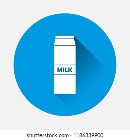 Vector icon package of milk  illustration on blue background. Flat image milk with long shadow. Layers grouped for easy editing illustration. For your design.