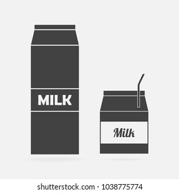 Vector icon of a package of milk. Set of two packages of milk