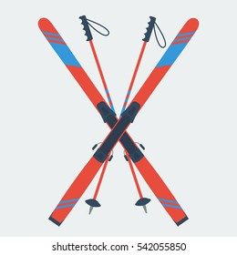 Vector icon pair of red skis and ski poles isolated on grey background