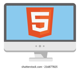 vector icon of personal computer with html5