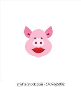 vector of icon pig with lipstick