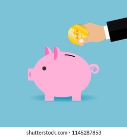 Vector icon of piggy bank with dollar in hand. Vector illustration. Flat design for business financial marketing advertisement advertisement web concept cartoon illustration