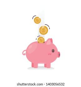 Vector icon piggy bank with golden coins.
