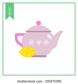 Vector icon of pink teapot with flower ornament and lemon