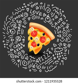 Vector Icon of Pizza Margarita, Classic Italian Food. Hot Slice of Pizza Margarita with Melted Cheese, Tomato, Mushrooms and Olives. Colorful Isolated Illustration of slice of pizza with doodle decor