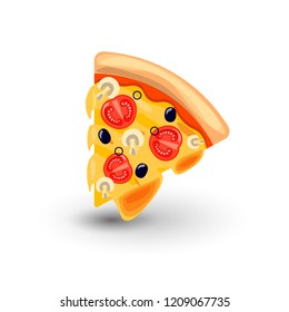 Vector Icon of Pizza Margarita. Concept of Classic Italian Food. Hot Fresh Slice of Pizza Margarita with Melted Cheese, Tomato, Mushrooms and Olives. Colorful Isolated Illustration of Appetizing Food.