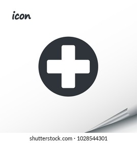 vector icon plus on a wrapped silver sheet