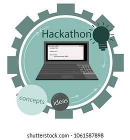 Vector icon  for programming hackathon. Gears arrows and dots. JNotebook.