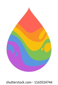 Vector icon of psychedelic rainbow drop isolated on white, lgbt community sign. Unicorn tear