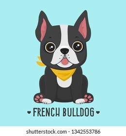 Vector icon puppy dog ​​breed French Bulldog. Pet black color in a yellow scarf. Illustration of a Frenchie bulldog dog in flat minimalism line style.