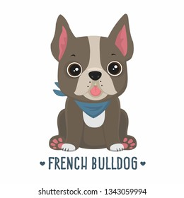 Vector icon puppy dog ​​breed French Bulldog. Pet beige color in a blue scarf. Illustration of a bulldog dog in flat minimalism line style.