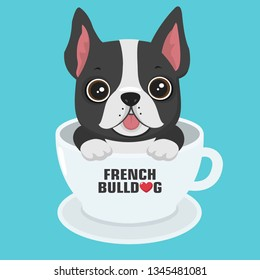 Vector icon puppy dog breed French Bulldog. Pet dog black sits in a white cup. Illustration of a frenchie bulldog dog in flat minimalism line style.