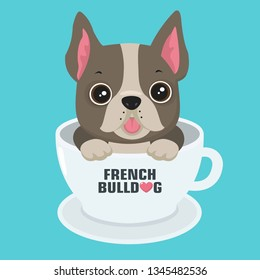 Vector icon puppy dog ​​breed French Bulldog. Pet beige dog sitting in a white cup. Illustration of a frenchie  bulldog dog in flat minimalism line style.