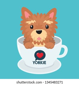 Vector icon puppy dog ​​breed Yorkshire terrier. Pet beige yorkie dog sitting in a white cup. Yorkshire terrier dog illustration in flat minimalism line style.