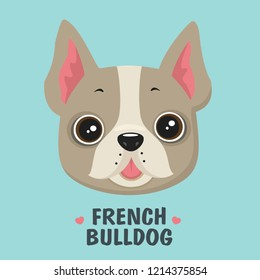 Vector Icon Puppy French Bulldog. The dog is beige. Text: French Bulldog. Illustration in flat style.